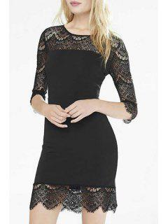 3/4 Sleeve See-Through Black Lace Dress - Black S