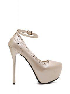 Engraving Platform Ankle Strap Pumps - Golden 36