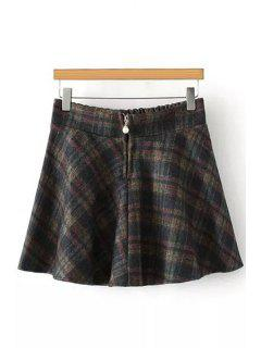 Plaid Faux Pearl Clasps Woolen Elastic Waist Skirt - Gray