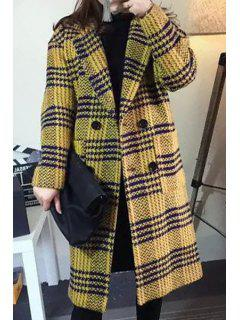 Houndstooth Turn-Down Collar Long Sleeves Woolen Peacoat - Yellow M