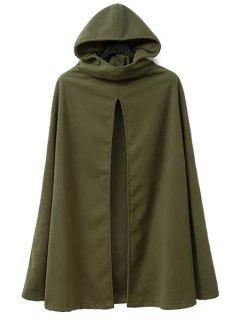 Hooded Cape Design Army Green Coat - Army Green 2xl