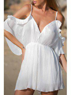 Pleated Spaghetti Strap Half Sleeve Dress - White