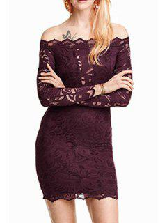 Solid Color Lace Off The Shoulder Long Sleeves Dress - Wine Red Xl