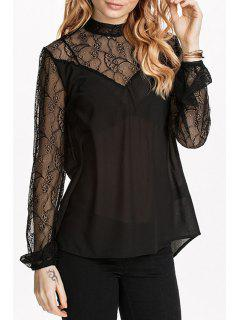 Lace Spliced See-Through Solid Color Blouse - Black L