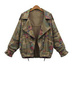 Camouflage Print Lapel Long Sleeve Coat - Army Green 2xl