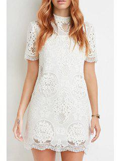 Solid Color Openwork Lace Hook Short Sleeves Dress - White Xl