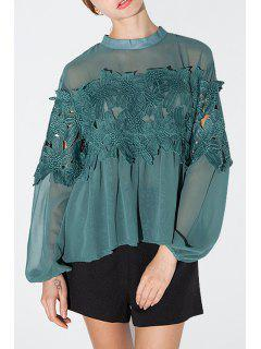 Lace Patchwork Green Chiffon Blouse - Green S