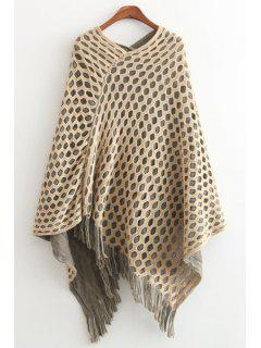 Fringes Solid Color Mesh Pullover Cape Sweater - Off-white