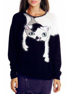 Kitten Pattern Round Neck Long Sleeve Jumper - Black