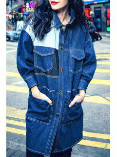 Blue Denim Turn Down Collar Long Coat - Blue L