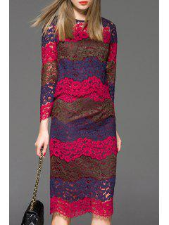 Openwork Lace Hook Blouse And Skirt Twinset - Red L