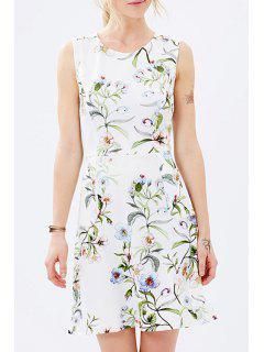 Round Neck Sleeveless Floral Dress - White Xs
