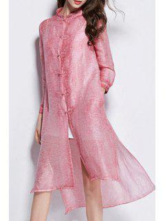 Solid Color Retro Embroidery Stand Collar Dress - Pink M