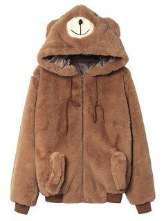 Solid Color Bear Hooded Long Sleeve Coat - Yellow M
