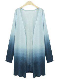Ombre Color Plus Size Cardigan - Blue 5xl