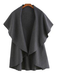 Solid Color Turn Down Collar Worsted Waistcoat - Deep Gray
