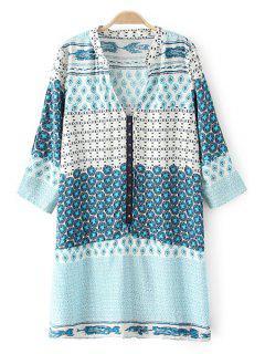 V-Neck 3/4 Sleeve Straight Dress - Light Blue L