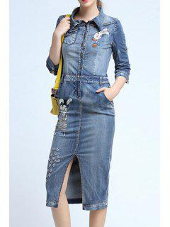 Cartoon Embroidery Front Slit Flat Collar Denim Dress - Light Blue Xl