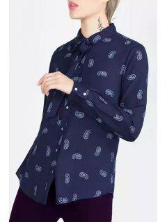 Long Sleeve Paisley Bowknot Shirt - Blue S