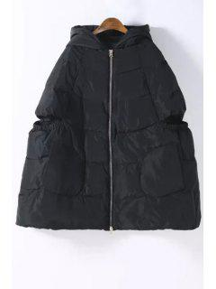 Hooded Zip Up Quilted Down Coat - Black L