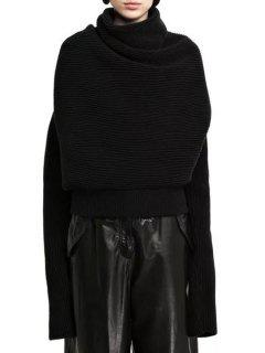 Solid Color Loose Fitting Heaps Collar Long Sleeves Sweater - Black