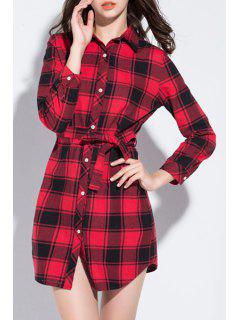 Red Checked Turn Down Collar Long Sleeve Shirt - Red 3xl