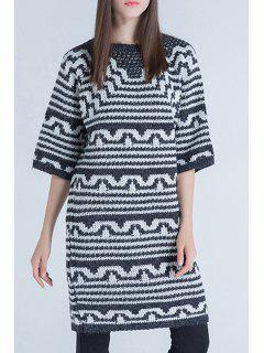 Round Neck Half Sleeve Striped Sweater - Black