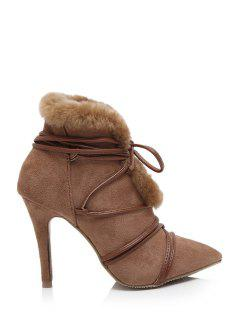 Pointed Toe Faux Fur High Heel Boots - Brown 39