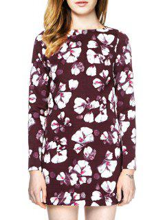 Floral Print Long Sleeve Backless Dress - Dark Red L