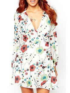 Flower Print Plunging Neck Long Sleeve Dress - White M