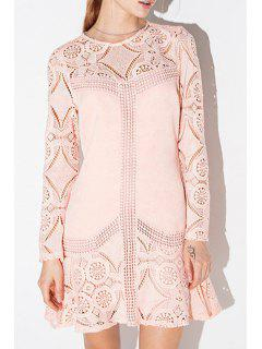 Pink Long Sleeve Hollow Out Dress - Pink S