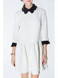 Color Block Turn Down Collar 3/4 Sleeve Dress - White Xl