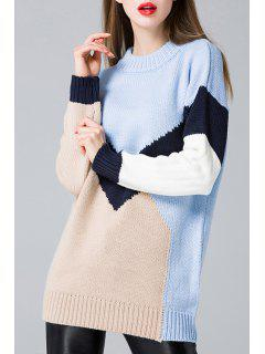 Long Sleeve Round Neck Hit Color Sweater - Blue