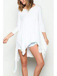 Solid Color Irregular Hem Round Collar 3/4 Sleeves Dress - White L