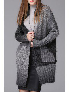 Ombre Color Stand Neck Long Sleeve Cardigan - Black And Grey