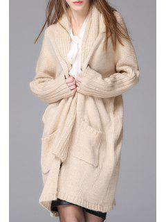 Solid Color Long Sleeve With Scarf Cardigan - Pink