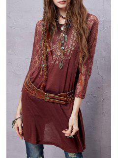 Lace Sleeve Embroidered Red T-Shirt - Rot M