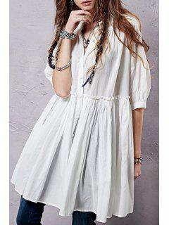 Button Up Half Sleeve Smock Shirt Dress - White L