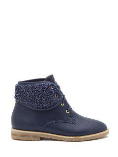 Flat Heel Splicing Lace-Up Short Boots - Blue 39