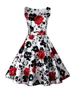 Floral Print A-Line Round Color Sleeveless Dress - Red Xl
