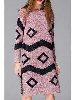 Geometric Pattern Side Slit Long Sweater - Pink
