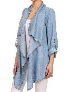 Solid Color Chambray Turn-Down Collar Coat - Blue S