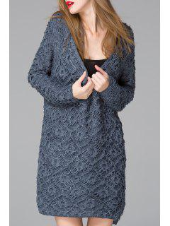 Deep V Neck Jacquard Sweater Dress - Blue
