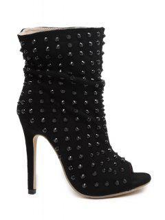 Peep Toe Black Rivet High Heel Boots - Black 35