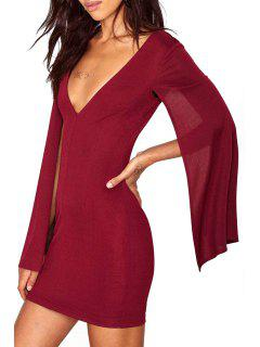 Solid Color Sexy Plunging Neck Cape Dress - Wine Red Xl