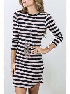 Round Neck Striped Bodycon Dress - Black S