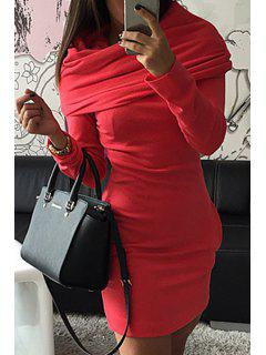 Hooded Pocket Design Bodycon Dress - Red L