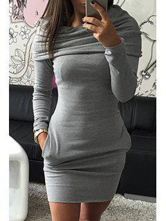 Hooded Pocket Design Bodycon Dress - Gray L