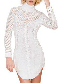 Turtle Neck Hollow Out Sweater Dress - White S