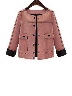 Solid Color Suede Round Collar Long Sleeves Jacket - Pink 5xl